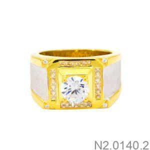 Nhẫn Nam Vàng Vàng 10K Đá Trắng - N2.0140.2