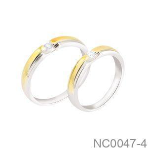 Nhẫn Cưới Hai Màu Vàng 18K Đính Đá CZ - NC0047-4