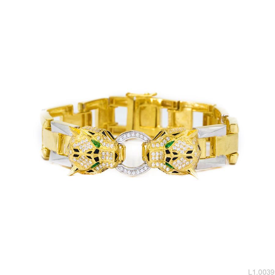 L1.0039 Lắc nam vàng vàng 10k biểu tượng báo Cartier