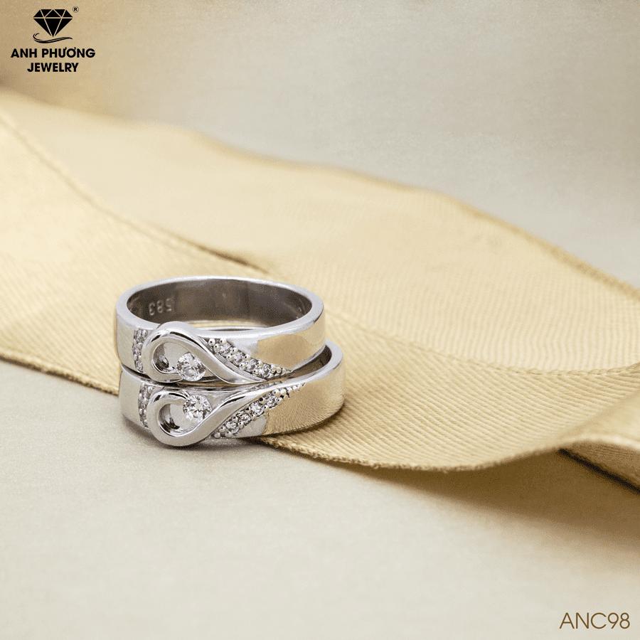 ANC98-2 Nhẫn cưới vàng tráng trái tim 14k đá CZ