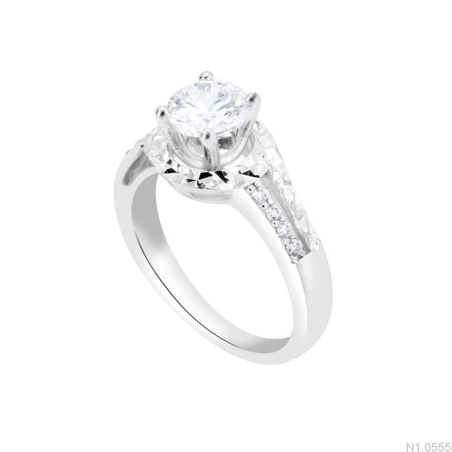 N1.0555-1 Nhẫn đính hôn vàng trắng 10k đẹp giá rẻ