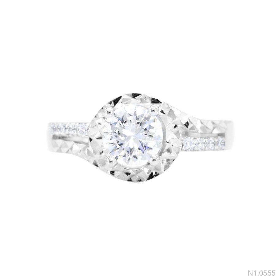 N1.0555-2 Nhẫn đính hôn vàng trắng 10k đẹp giá rẻ