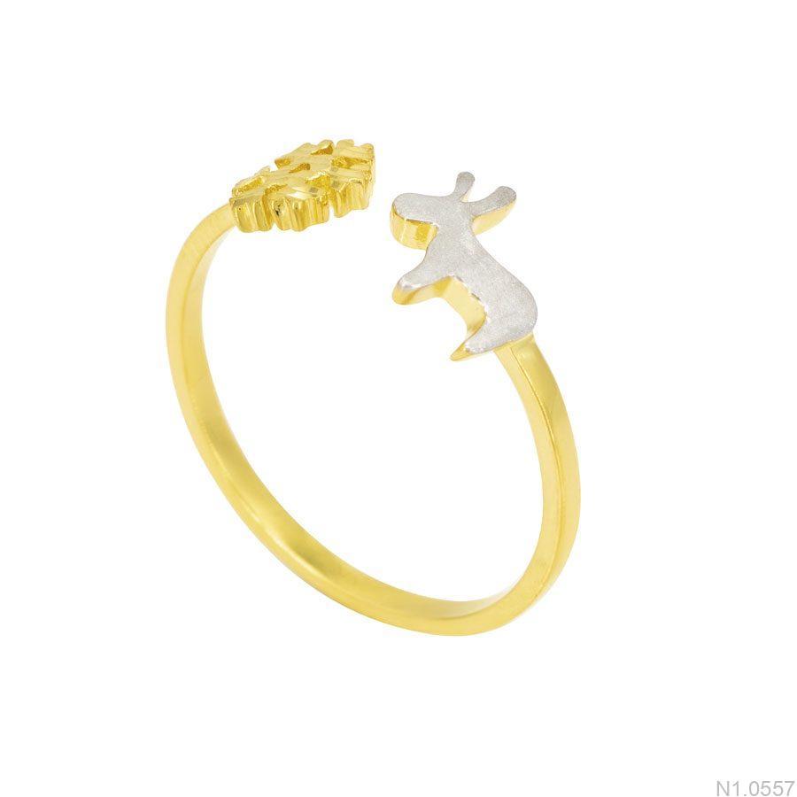N1.0557-1 Nhẫn nữ vàng 18k bông tuyết tuần lộc