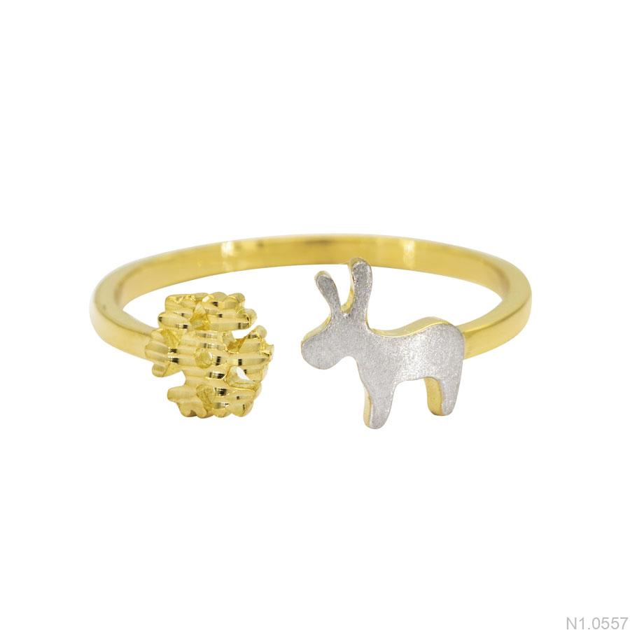 N1.0557-2 Nhẫn nữ vàng 18k bông tuyết tuần lộc