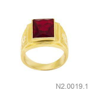 Nhẫn Nam Rồng Vàng Vàng 18K Đá Đỏ - N2.0019.1