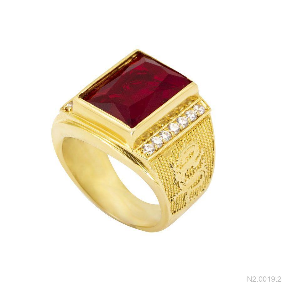 N2.0019.2-1 Nhẫn nam vàng 18k đính đá Ruby đỏ apj