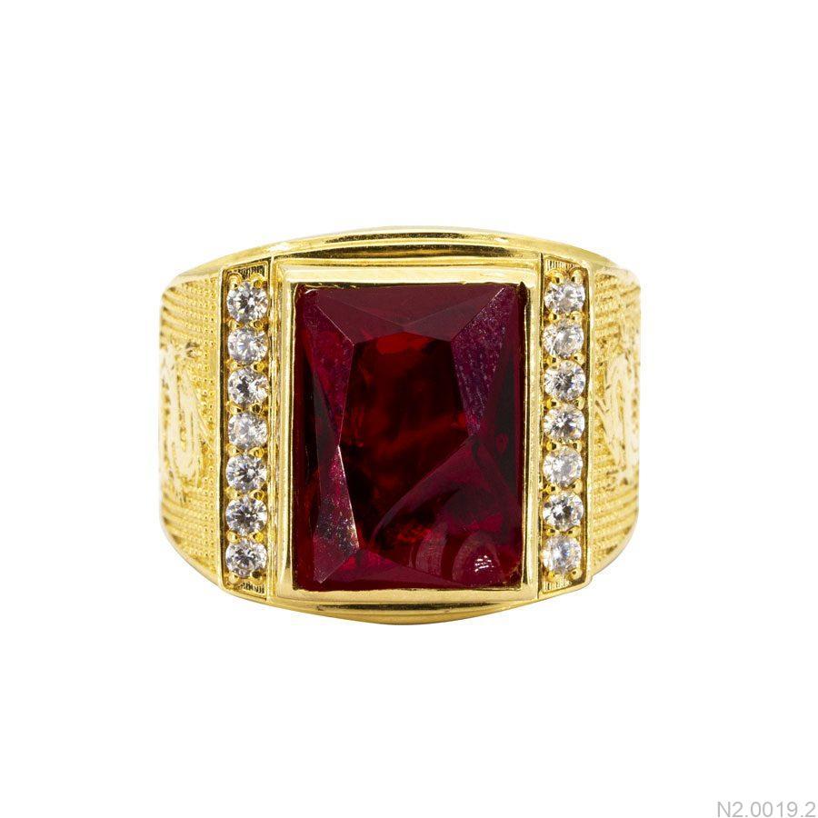 N2.0019.2-2 Nhẫn nam vàng 18k đính đá Ruby đỏ apj