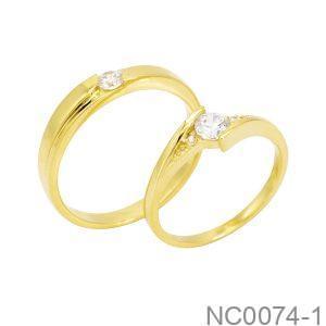 Nhẫn cưới vàng vàng 18k đẹp APJ đá CZ NC0074