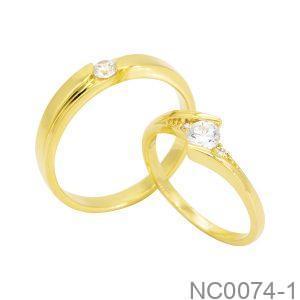 Nhẫn Cưới Vàng Vàng 18K Đính Đá CZ - NC0074-1