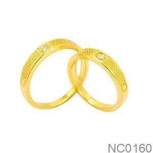 Nhẫn Cưới Vàng Vàng 18K Đính Đá CZ - NC0160