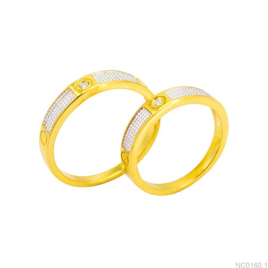 Nhẫn cưới hai màu vàng 18k đẹp rẻ NC0160.1