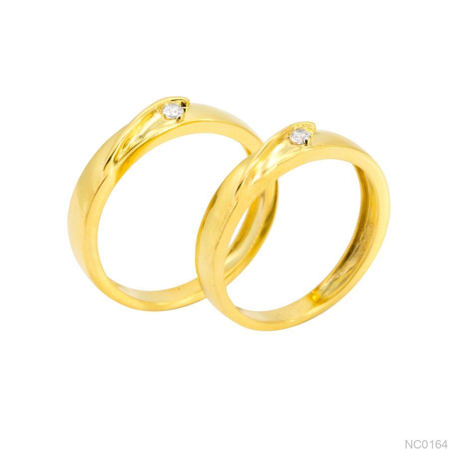 Nhẫn cưới vàng vàng 18k đẹp APJ NC0164