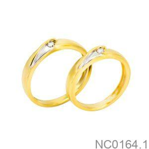 Nhẫn cưới hai màu vàng 18k đẹp rẻ APJ NC0164.1
