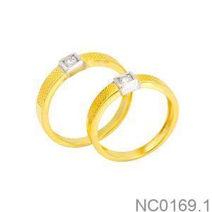 Nhẫn Cưới Hai Màu Vàng 10K Đính Đá CZ - NC0169.1