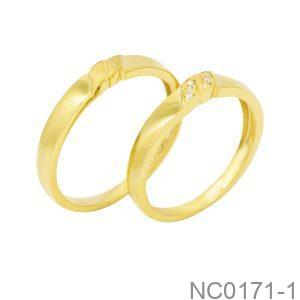 Nhẫn Cưới Vàng Vàng 18K Đính Đá CZ - NC0171-1