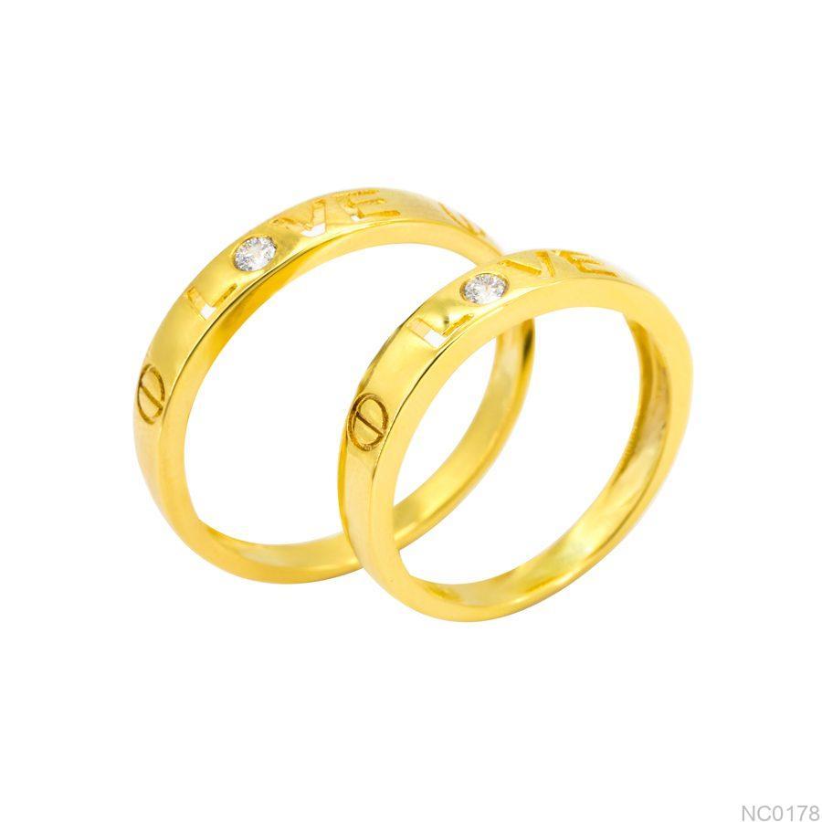 Nhẫn cưới vàng vàng 10k đẹp giá rẻ APJNC0178