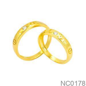 Nhẫn Cưới Vàng Vàng 10K Đính Đá CZ - NC0178
