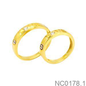 Nhẫn Cưới Hai Màu Vàng 10K Đính Đá CZ - NC0178.1