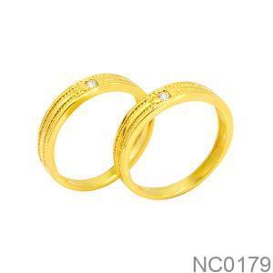 Nhẫn Cưới Vàng Vàng 18K Đính Đá CZ - NC0179