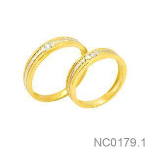 Nhẫn cưới hai màu vàng 18k đẹp rẻ NC0179.1