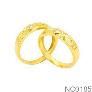 Nhẫn Cưới Vàng Vàng 18K Đính Đá CZ - NC0185
