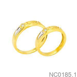 Nhẫn Cưới Hai Màu Vàng 18K Đính Đá CZ - NC0185.1