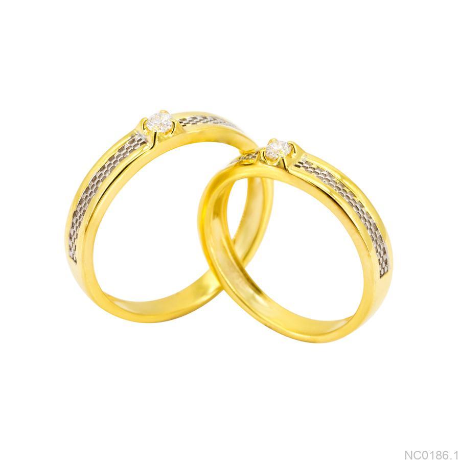 Nhẫn cưới hai màu vàng 10k NC0186.1-1 APJ