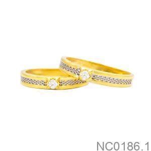 Nhẫn cưới hai màu vàng 10k NC0186.1-2 APJ