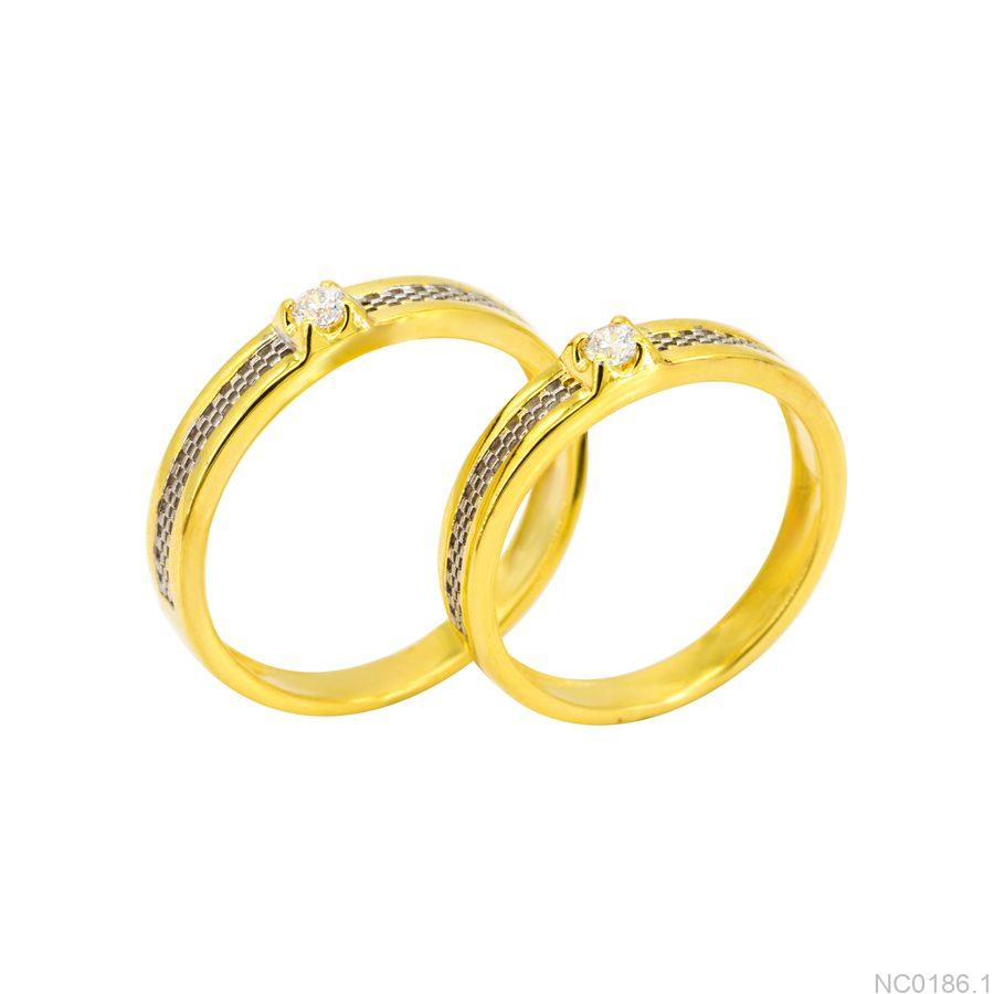 Nhẫn cưới hai màu vàng 10k NC0186.1-3 APJ