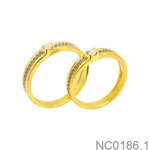 Nhẫn Cưới Hai Màu Vàng 10K Đính Đá CZ - NC0186.1