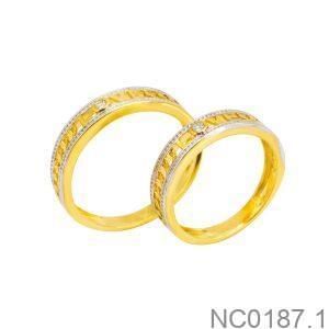 Nhẫn Cưới Hai Màu Vàng 10K Đính Đá CZ - NC0187.1