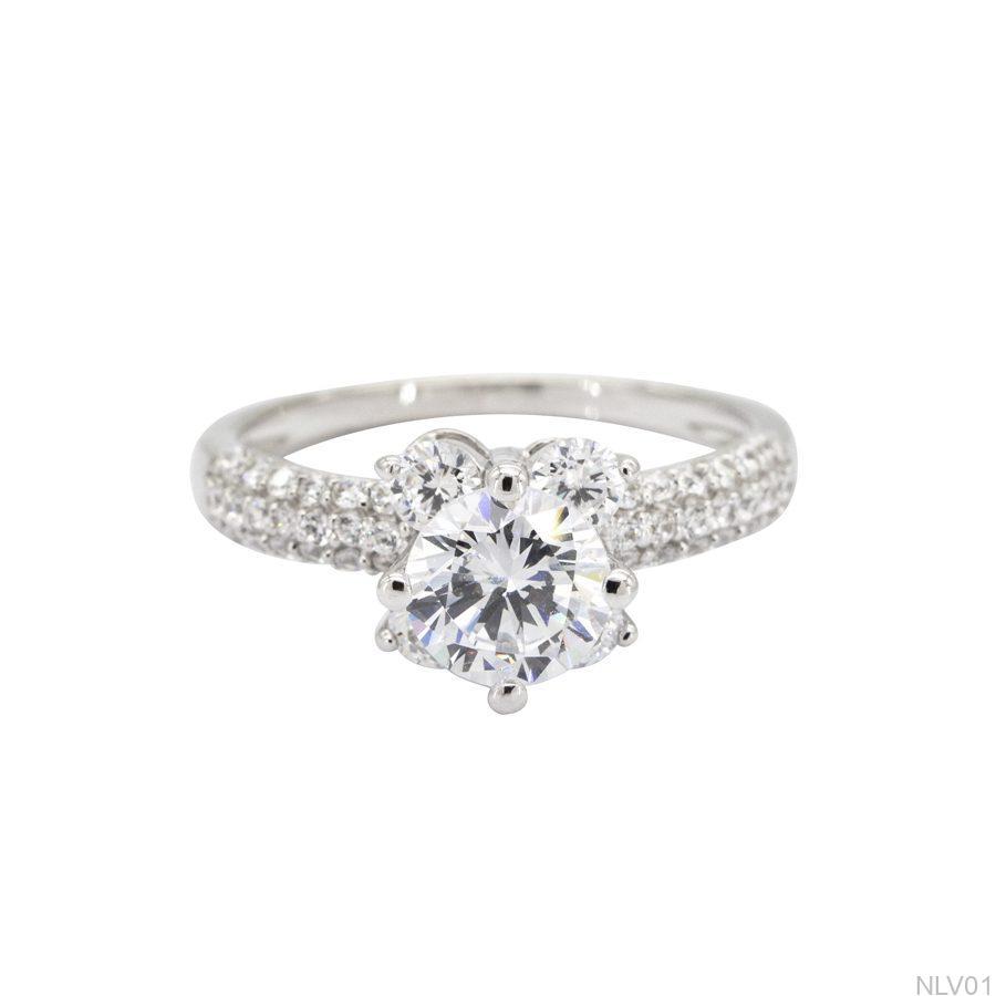 NLV01-2 Nhẫn đính hôn vàng trắng 10k rẻ đẹp APJ
