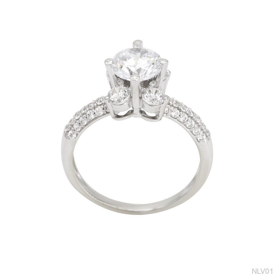 NLV01 - Nhẫn đính hôn vàng trắng 10k rẻ đẹp APJ