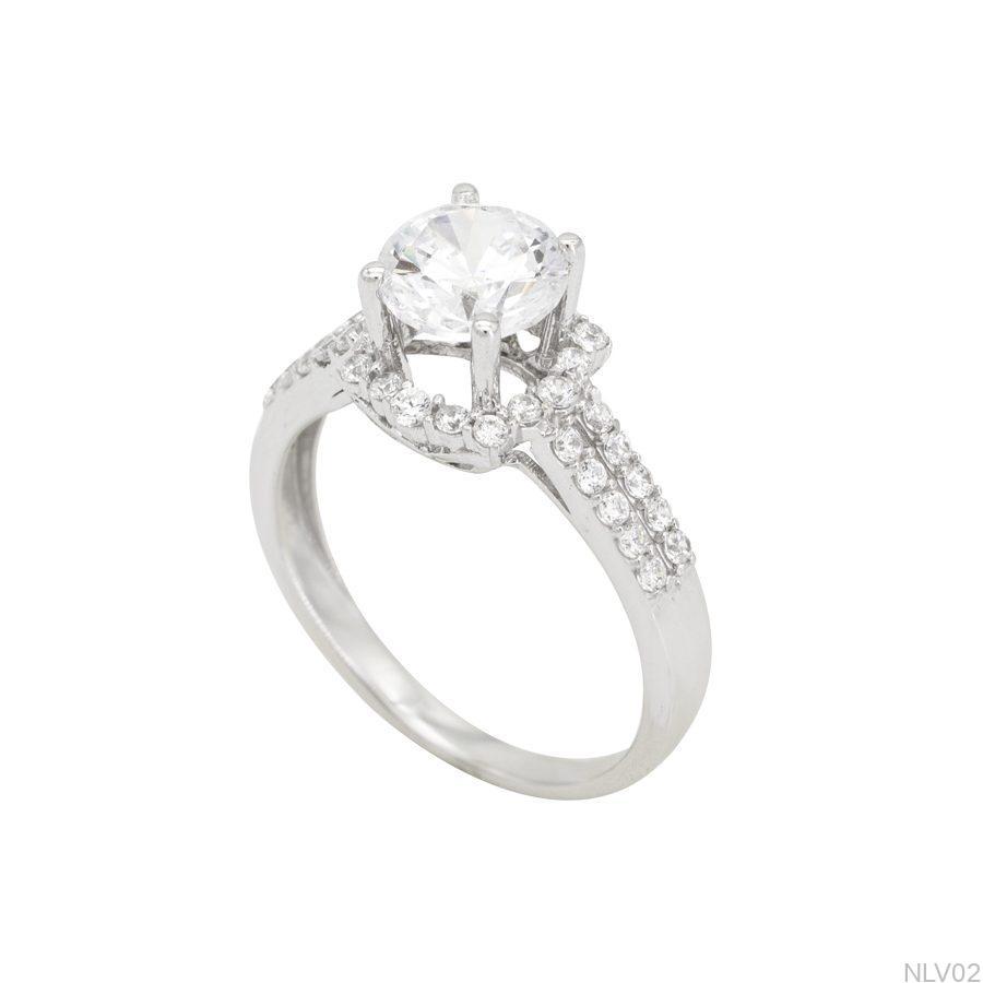 NLV02-1 Nhẫn đính hôn vàng trắng 10k rẻ đẹp APJ