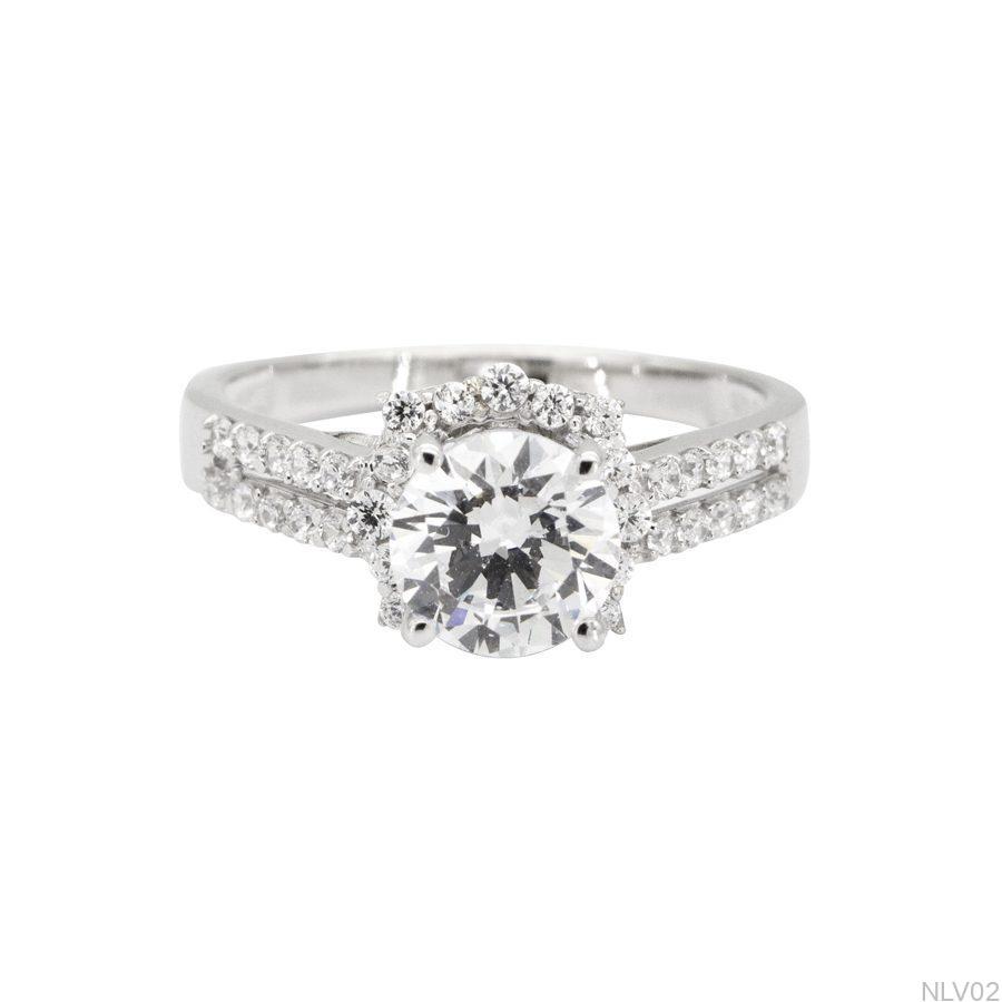 NLV02-2 Nhẫn đính hôn vàng trắng 10k rẻ đẹp APJ
