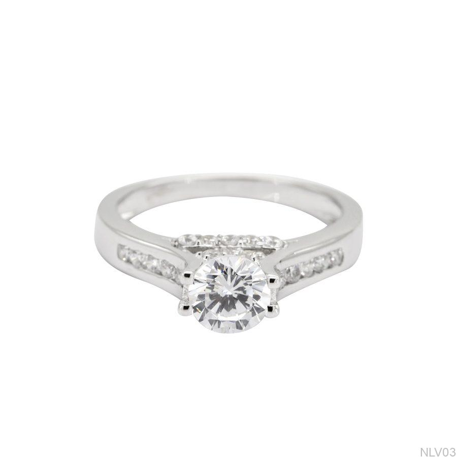 NLV03-2 Nhẫn đính hôn vàng trắng 10k rẻ đẹp APJ