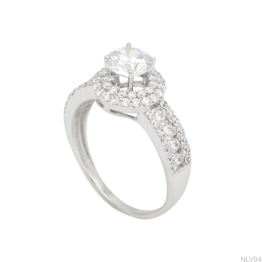NLV04-1 Nhẫn đính hôn vàng trắng 10k rẻ đẹp APJ