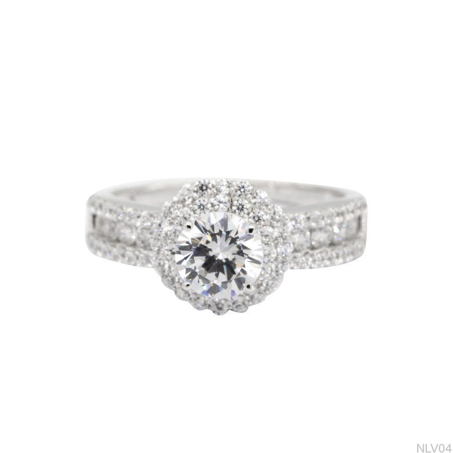 NLV04-2 Nhẫn đính hôn vàng trắng 10k rẻ đẹp APJ