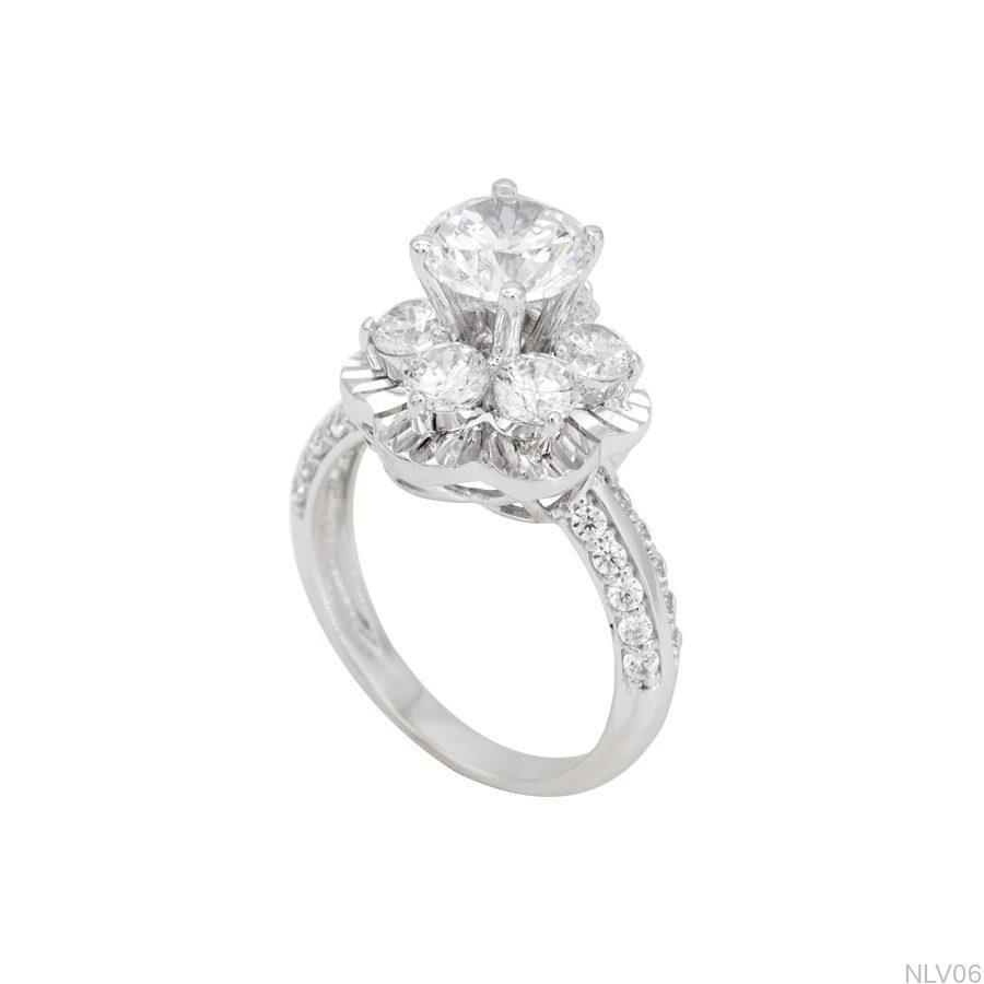 Nhẫn đính hôn vàng trắng 10k NLV06-1