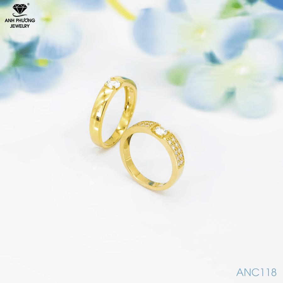 Nhẫn cưới vàng đá cz ANC118