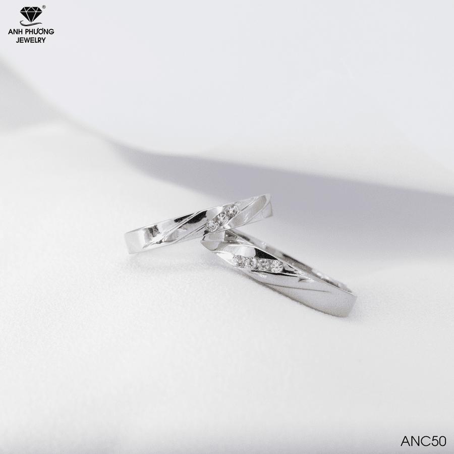 Nhẫn cưới vàng trắng 10k ANC50