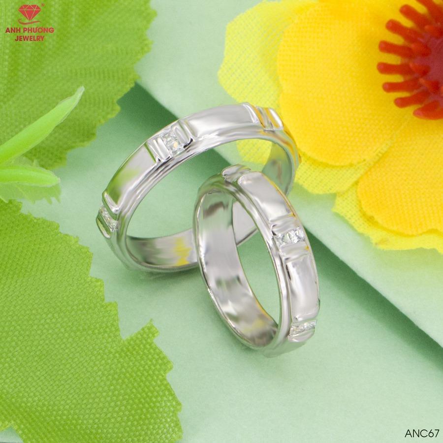 ANC67 Nhẫn cưới vàng trắng 14k đá CZ