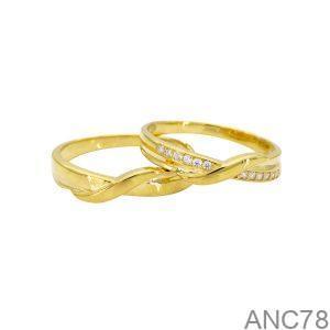 ANC78-2 Nhẫn cưới vàng vàng 18k APJ