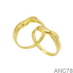 Nhẫn Cưới Vàng Vàng 18K Đính Đá CZ - ANC78