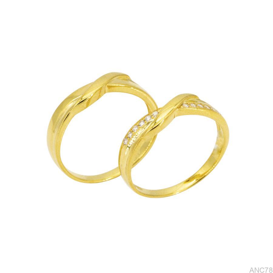 ANC78 Nhẫn cưới vàng vàng 18k APJ