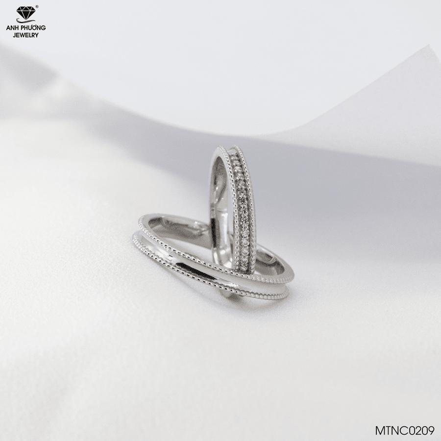 MTNC0209 Nhẫn cưới vàng trắng 10k APJ
