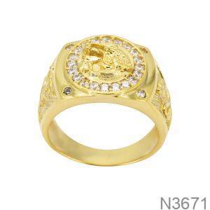 Nhẫn Nam Rồng Vàng Vàng 10K Đá Trắng - N3671