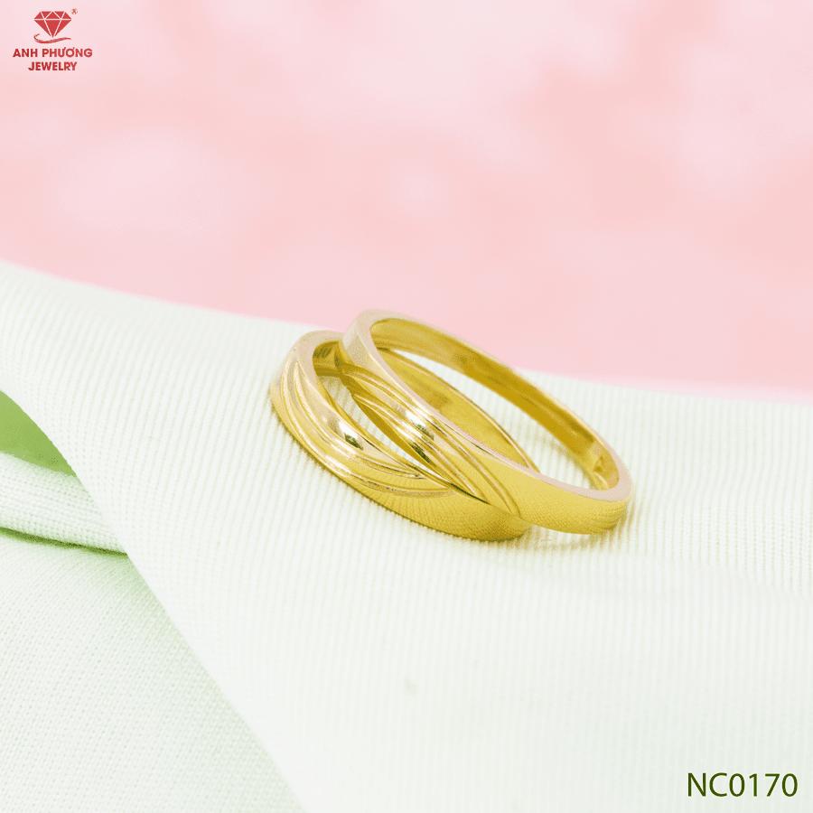 NC0170 Nhẫn cưới vàng vàng 18k trơn kiểu