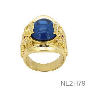 Nhẫn Nam Rồng Vàng Vàng 18K Đá Xanh Dương - NL2H79