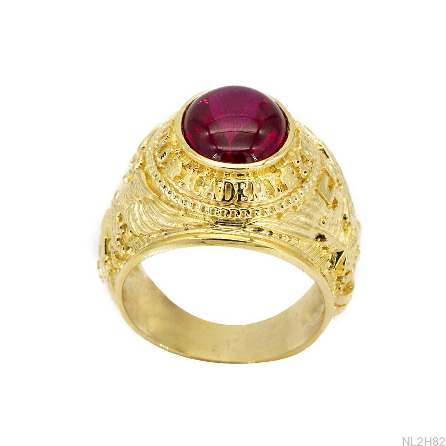Nhẫn Nam Đại Bàng Vàng Vàng 18K Đá Đỏ - NL2H82
